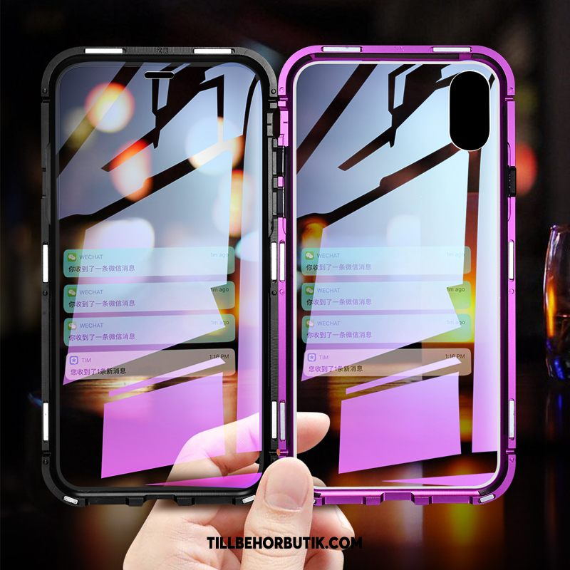 iPhone Xs Max Skal Kreativa Purpur Personlighet, iPhone Xs Max Fodral Metall Ny