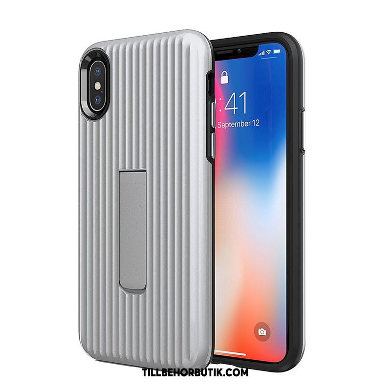 iPhone Xs Max Skal Solid Färg Silver Mjuk, iPhone Xs Max Fodral All Inclusive Fallskydd